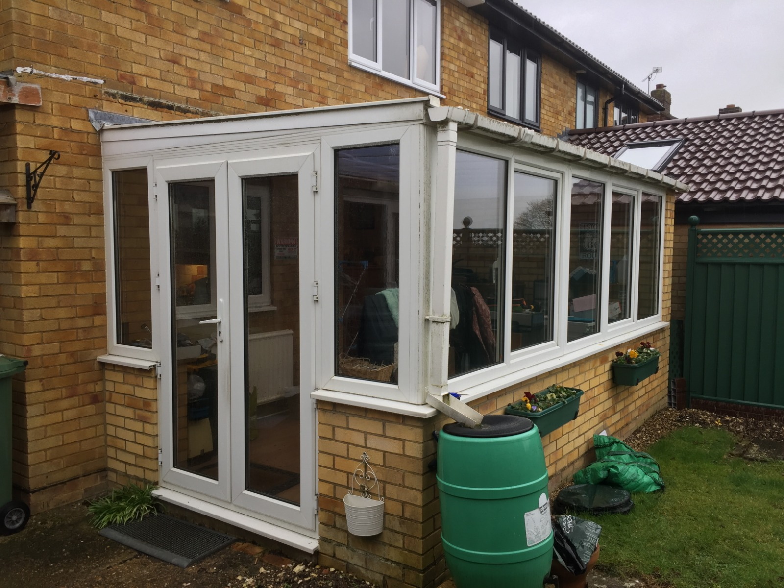 BEFORE Glass Roof & French Door Installation Hampshire